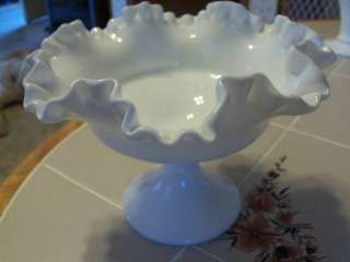 VTG white milk glass footed candy dish bowl Fenton ?