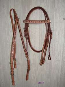 WESTERN Headstall BP REINS Show Horse CRYSTALS PURPLE