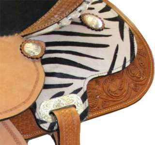 Western Horse Barrel Saddle Zebra Print Super Sale 15 or 16