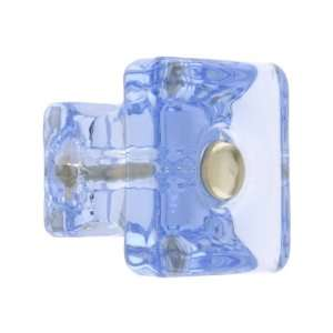 Square Light Blue Glass Cabinet Knob With Nickel Bolt