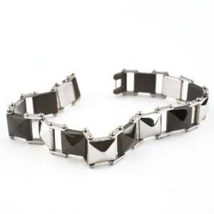 Steel Mens Polished Silver and Black Spike 8.5 inch Bracelet Jewelry