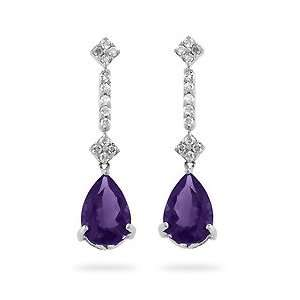 14k White Gold Teardrop Amethyst CZ, Diamond Earrings Jewelry