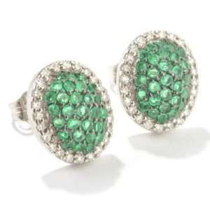 14K White Gold Emerald & Diamond Earrings Jewelry