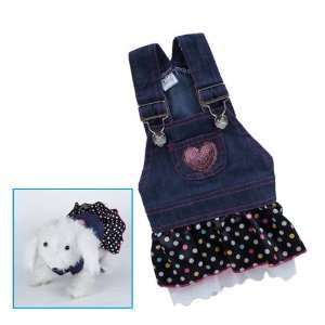 Pet Dog Apparel Clothes Costume Dress Denim Skirt L