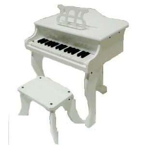 Merano 30 Key WHITE Baby Grand Piano with Bench Toys & Games