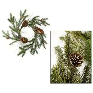 Pack of 6 Frosted Pine Cone Christmas Candle Rings 12