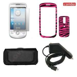 HTC G2 Combo Hot Pink/Black Zebra Design Protective Case