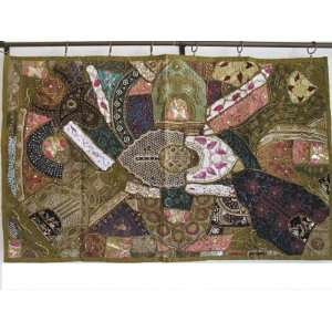 KHAKI MOTI INDIAN SARI TAPESTRY WALL HANGING DECOR ART