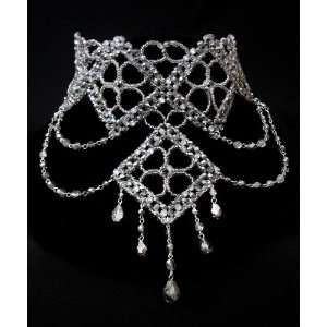 wedding Prom Pageant Silver Crystal Choker Necklace Jewelry Jewellery