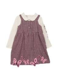 Kids Baby Girls Pink Brown Hounds tooth Butterfly Jumper Dress 6 9