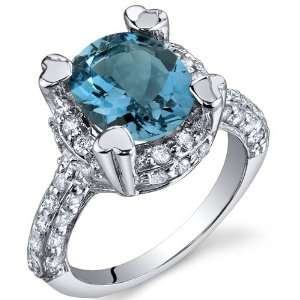 Royal Splendor 3.00 Carats London Blue Topaz Ring in Sterling Silver