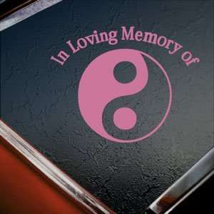 In Loving Memory Yin Yang Pink Decal Truck Window Pink