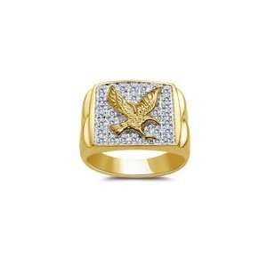 Eagle Ring   1/10 (0.09 0.12) Ct Diamond Mens Eagle Ring 3.5 Jewelry