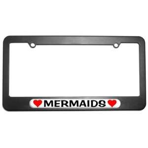 Mermaids Love with Hearts License Plate Tag Frame