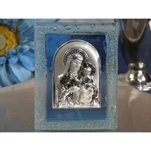 Murano art deco blue glass icon