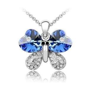 Austrian Crystal White Gold Butterfly Pendant Necklace Jewelry