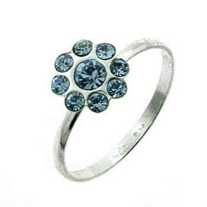 Sterling Silver Light Blue cz Flower Junior Ring Jewelry