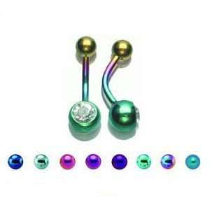 Green Titanium Single Jeweled Belly Ring with 5/8mm Balls   14G (1.6mm