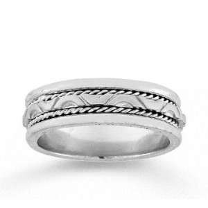 14k White Gold Forever Love Hand Carved Wedding Band Jewelry