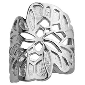 ELLE Sterling Silver Wide Band Floral Ring Claire Vessot Jewelry