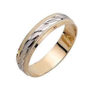 Infinty Links Fancy Mens 5 mm 14K Two Tone Gold Wedding
