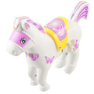 Children White Plastic Cartoon Running Horse Wind up Toy Toys & Games