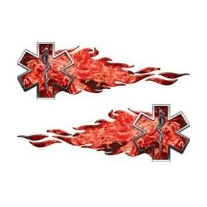 12 Inferno Red Flaming Star Of Life EMS EMT Decals REFLECTIVE (Left