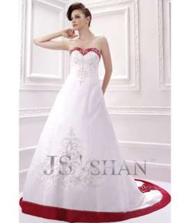 Jsshan Embroidery Satin Strapless Bridal Gown Wedding Dress,All Size